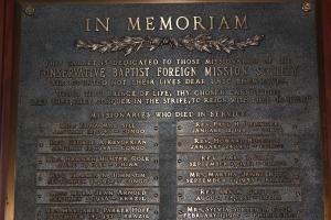 WorldVenture Memoriam Plaque